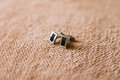 Men`s cufflinks for a shirt Royalty Free Stock Photo