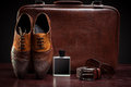 Men's leather shoes and  suitcase Royalty Free Stock Photo