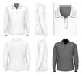 Men s long sleeve polo shirt design template front view back view side views illustration contains gradient mesh Royalty Free Stock Image