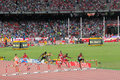 Men s metres hurdles at iaaf world championships in beijing china competition the the event is held national stadium or the bird Royalty Free Stock Photos
