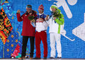 Men's parallel slalom snowboarding medal ceremony Royalty Free Stock Photography