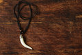 Men s pendant necklace a white tusk on wooden background Royalty Free Stock Photos