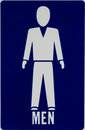 Men s room signage a sign with both icon and written directions Stock Image