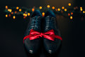 Men`s shoes and bow tie. Wedding accessories Royalty Free Stock Photo