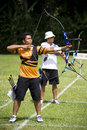 Men's Team Archery Action Royalty Free Stock Photo