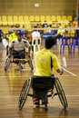 Men's Wheelchair Badminton Royalty Free Stock Photos