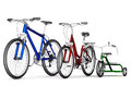 Men s women s and children s bikes on a white background Stock Photography