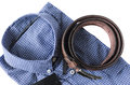Men shirt and belt prepare for dressing isolated on white background Royalty Free Stock Photo