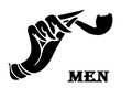 Men sign on isolated background Stock Images