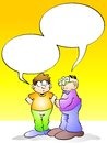 Men talking with empty speech bubble conceptual illustration conversation between two vignette illustrated for you to place your Royalty Free Stock Photography