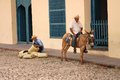 Men in trinidad cuba february two on the cobblestone street of one is weaving baskets and the other sits on a donkey Royalty Free Stock Photography