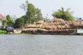 Men unload timber cai rang vietnam feb a cargo boat loaded with cai rang vietnam Royalty Free Stock Photos