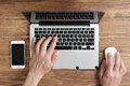 Men use Apple MacBook Pro Royalty Free Stock Photo