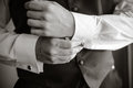 Men wear a shirt and cufflinks Royalty Free Stock Photo