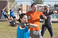 Men and Women in Boot Camp Fitness Royalty Free Stock Photo