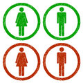 Men and women grunge icons on white background Royalty Free Stock Image