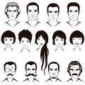 Men and women head character eye mustache lips hair face parts Stock Image