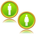 Men and women icons on white background Royalty Free Stock Photos