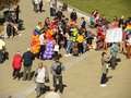 Men and women meet on Castle Square Plac Zamkowy in Lublin on the Gay parade. Crowd of people