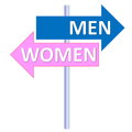 Men or women signpost showing two different directions between and in white background Royalty Free Stock Photography