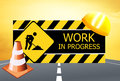 Men at work illutration of in progress sign Stock Photos
