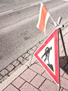 Men at work sign a road construction site Royalty Free Stock Photography