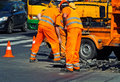 Men are working at the road construction Royalty Free Stock Photo