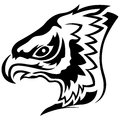 Menacing eagle black outline head of side view cartoon vector Royalty Free Stock Photo