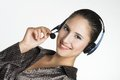 Menager the manager young woman speaking by phone Stock Photo