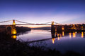 Menai bridge straits sunset isle anglesey north wales Royalty Free Stock Photos
