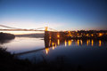Menai bridge straits sunset isle anglesey north wales Stock Image