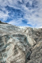 Mendenhall glacier on sunny cloudy sky near juneau alaska Stock Photos