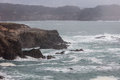 The mendocino coast pacific ocean washes against rocky scenic of northern california in county Stock Images