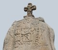 Menhir of saint uzec detail the in brittany france Royalty Free Stock Photo