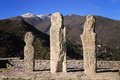 Menhirs at pieve corsica three ancient in the nebbiu region of Royalty Free Stock Photo