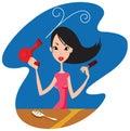 A menina do encanto seca o cabelo um hairdryer Imagens de Stock