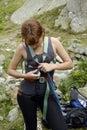 A menina do montanhista começ pronta Foto de Stock Royalty Free