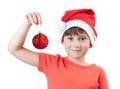 Menina na imagem de Papai Noel Foto de Stock