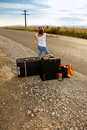 Menina nova do hitch-hiker Fotos de Stock