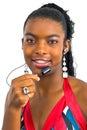 Menina que joga com um jogo hands-free Foto de Stock Royalty Free
