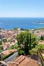 Mening over stad Taormina op Ionische kust Royalty-vrije Stock Fotografie