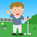 Menino do golfe no parque Fotos de Stock Royalty Free