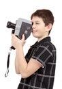 Menino novo com a câmera velha do analog mm do vintage Imagem de Stock
