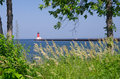 Menominee north pier lighthouse michigan usa Royalty Free Stock Photo