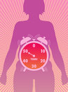Menopause medical symbolic illustration that shows the time of onset of Stock Photo