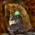 Menorca cova dels coloms pigeons cave in es mitjorn at balearic island Stock Photo