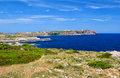 Menorca island coast with view on la mola fortress peninsula spain Royalty Free Stock Photography