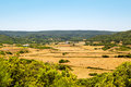 Menorca island landcape with farmland and green hills in sunny day spain Royalty Free Stock Image