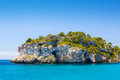 Menorca island sea cliff south coast in sunny day spain Stock Photos