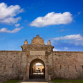 Menorca la mola castle door in mahon at balearics fortress balearic islands Stock Images